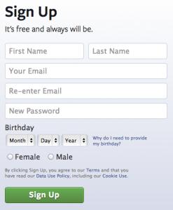 Facebook create account